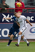14th September 2019; Dens Park, Dundee, Scotland; Scottish Championship, Dundee Football Club versus Alloa Athletic; Robbie Deas of Alloa Athletic challenges for the ball with Danny Johnson of Dundee