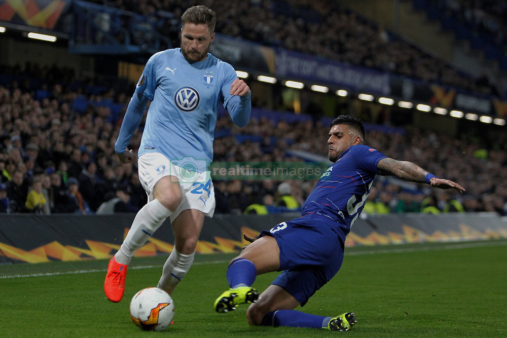 February 21, 2019 - London, Greater London, United Kingdom - Lasse Nielsen and Emerson Palmieri during UEFA Europa League Round of 32 2nd Leg between Chelsea and Malmo FF at Stamford Bridge stadium, London, England on 21 Feb 2019. (Credit Image: © Action Foto Sport/NurPhoto via ZUMA Press)