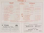 Irish Rugby Football Union, Ireland v Australia, Tour Match, Landsdowne Road, Dublin, Ireland, Saturday 6th December, 1947,.6.12.1947, 12.6.1947,..Referee- MR R A Beattie, Scottish Rugby Union, ..Score- Ireland 3 - 16 Australia, ..Irish Team, ..J A D Higgins, Wearing number 15 Irish jersey, Full Back, Civil Service N.I Rugby Football Club, Belfast, Northern Ireland, ..W D McKee, Wearing number 14 Irish jersey, Right wing, N.I.F.C, Rugby Football Club, Belfast, Northern Ireland, ..P J Reid, Wearing number 13 Irish jersey, Right Centre, Garryowen Rugby Football Club, Limerick, Ireland, ..K Quinn, Wearing number 12 Irish jersey, Left Centre, Old Belvedere Rugby Football Club, Dublin, Ireland,  ..K O'Flanagan, Wearing number 11 Irish jersey, Left Wing, London Irish Rugby Football Club, Surrey, England, ..J W Kyle, Wearing number 10 Irish jersey, Stand Off, Queens University Rugby Football Club, Belfast, Northern Ireland,..E Strathdee, Wearing number 9 Irish jersey, Captain of the Irish team, Scrum, Queens University Rugby Football Club, Belfast, Northern Ireland,..J Corcoran, Wearing number 1 Irish jersey, Forward, London Irish Rugby Football Club, Surrey, England, ..C Mullen, Wearing number 2 Irish Jersey, Forward, Old Belvedere Rugby Football Club, Dublin, Ireland, ..A A McConnell, Wearing number 3 Irish jersey, Forward, Collegians Rugby Football Club, Belfast, Northern Ireland, ..J Nelson, Wearing number 4 Irish jersey, Forward, Malone Rugby Football Club, Belfast, Northern Ireland, ..R Wilkinson, Wearing number 5 Irish jersey, Forward, Wanderers Rugby Football Club, Dublin, Ireland, ..J W McKay, Wearing number 6 Irish jersey, Forward,  Queens University Rugby Football Club, Belfast, Northern Ireland,..E Keeffe, Wearing number 7 Irish jersey, Forward, Sundays Well Rugby Football Club, Cork, Ireland, ..D McCourt, Wearing number 8 Irish jersey, Forward, Queens University Rugby Football Club, Belfast, Northern Ireland, ..Australian Team, ..B J Piper, Wearing number 1 Au