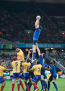 London, Great Britain,   Bernard LE ROUX, catching a line out balll unchallenged, during the Pool D game  France vs Romania. 2015 Rugby World Cup, Venue. The Stadium Queen Elizabeth Olympic Park. Stratford. East London. England,, Wednesday  23/09/2015. <br /> [Mandatory Credit; Peter Spurrier/Intersport-images]