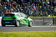 Race Winner Jack Young(GBR) on 2 wheels out of Duffers Dip during Round 14 of the Renault UK Clio Cup at Knockhill Racing Circuit, Dunfermline, Scotland on 15 September 2019.