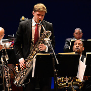 Baritone saxaphonist performs with Wynton Marsalis and the Jazz at Lincoln Center Orchestra at The Music Hall in Portsmouth, NH. June, 2013