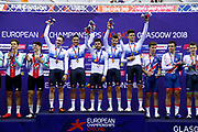 Podium, Gold Medal, Men Team Pursuit, Italy, Elia Viviani, Francesco Lamon, Filippo Ganna, Michele Scartezzini, Liam Bertazzo, during the UEC Track Cycling European Championships Glasgow 2018, at Sir Chris Hoy Velodrome, in Glasgow, Great Britain, Day 2, on August 3, 2018 - Photo Luca Bettini / BettiniPhoto / ProSportsImages / DPPI - Belgium out, Spain out, Italy out, Netherlands out -