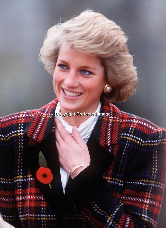 Portrait if Diana in tartan coat in the Loire Valley, France