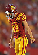 October 9 2010: Iowa State Cyclones kicker Grant Mahoney (21) eyes the ball during the first half of the NCAA football game between the Utah Utes and the Iowa State Cyclones at Jack Trice Stadium in Ames, Iowa on Saturday October 9, 2010. Utah defeated Iowa State 68-27.