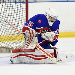 TORONTO, ON  - OCT 29,  2017: Ontario Junior Hockey League game between the Toronto Jr. Canadiens and the Toronto Patriots, Dalton Ewing #29 of the Toronto Jr. Canadiens block the shot during the first period.<br /> (Photo by Andy Corneau / OJHL Images)