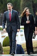 King Felipe VI of Spain, Queen Letizia of Spain attend Delivery of the National Innovation and Design Awards 2017 at Teatro del Bosque on February 12, 2018 in Mostoles, Spain