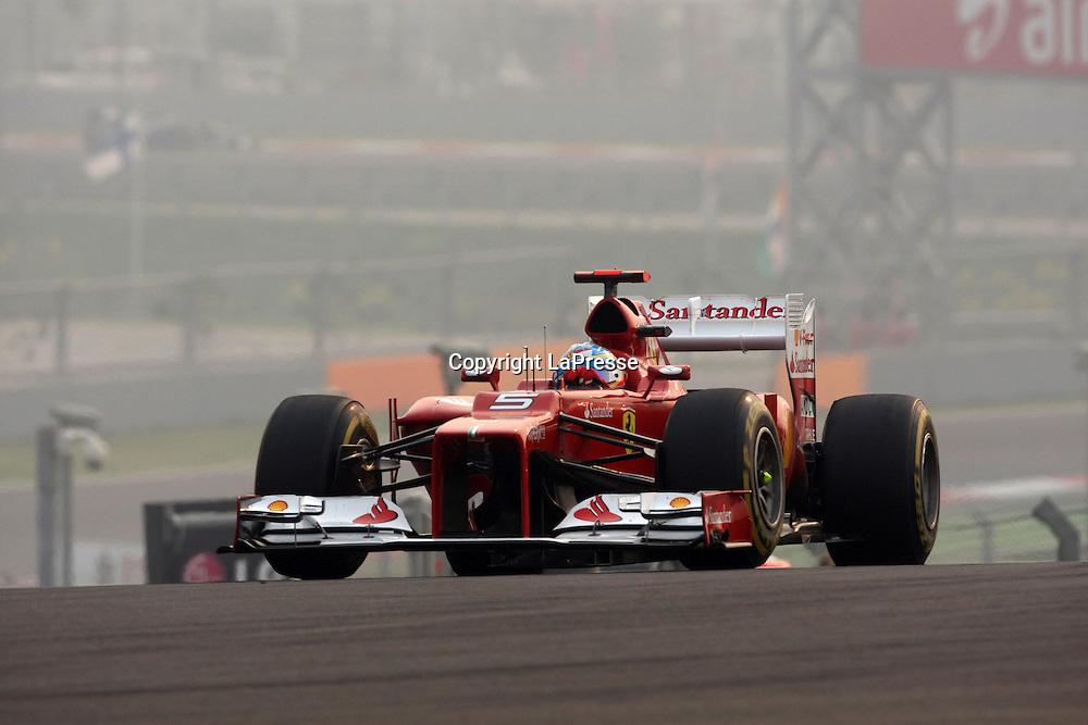 &copy; Photo4 / LaPresse<br /> 28/10/2012 Noida, India<br /> Sport <br /> Indian Grand Prix, Noida 25-28 October 2012<br /> In the pic: Fernando Alonso (ESP), Scuderia Ferrari, F2012