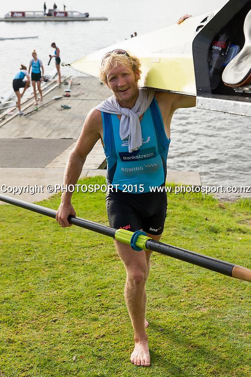 Men's Coxless Pair Eric Murray at the Rowing NZ Media Day, Lake Karapiro, Cambridge, New Zealand, Wednesday 6 May 2015. Photo: Stephen Barker/Photosport.co.nz