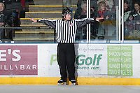 KELOWNA, CANADA - JANUARY 26: Alex Teichrob, linesman, stands on the ice wearing a DRIFT point of view camera as the Prince Albert Raiders visit  the Kelowna Rockets on January 26, 2013 at Prospera Place in Kelowna, British Columbia, Canada (Photo by Marissa Baecker/Shoot the Breeze) *** Local Caption ***