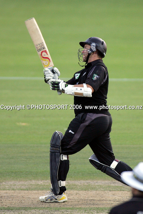 New Zealand batsman Craig McMillan hits a 6 during the 3rd Chappell Hadlee one day match at Seddon Park, Hamilton, New Zealand on Tuesday 20 February 2007. Photo: Andrew Cornaga/PHOTOSPORT<br />