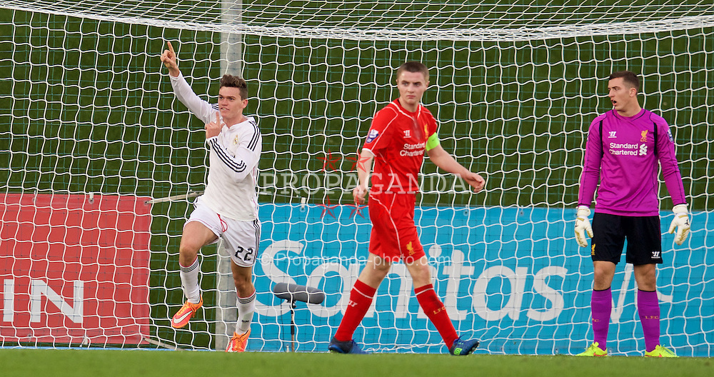 MADRID, SPAIN - Tuesday, November 4, 2014: Real Madrid CF's Jack Harper celebrates scoring the second goal against Liverpool during the UEFA Youth League Group B match at Ciudad Real Madrid. (Pic by David Rawcliffe/Propaganda)