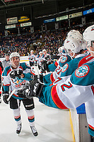 KELOWNA, CANADA - MARCH 1: Rodney Southam #17 of the Kelowna Rockets celebrates a goal with bench fist pumps against the Prince George Cougars on MARCH 1, 2017 at Prospera Place in Kelowna, British Columbia, Canada.  (Photo by Marissa Baecker/Shoot the Breeze)  *** Local Caption ***