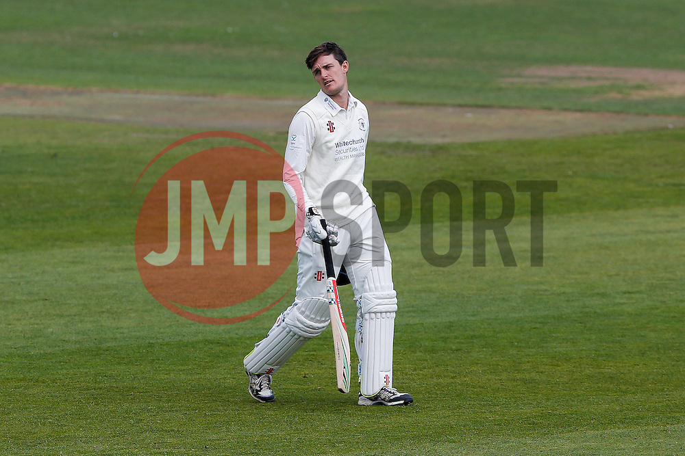 Gareth Roderick of Gloucestershire leaves the field dejected after he is Caught Out by Alex Hughes of Derbyshire (b. Mark Footitt) for 76 - Photo mandatory by-line: Rogan Thomson/JMP - 07966 386802 - 26/04/2015 - SPORT - CRICKET - Bristol, England - Bristol County Ground - Gloucestershire v Derbyshire — Day 1 - LV= County Championship Division Two.