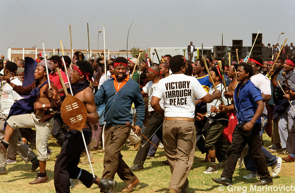 Transvaal, Soweto, Supporters of the Inkatha Freedom Party go to a rally. 1990-1994.