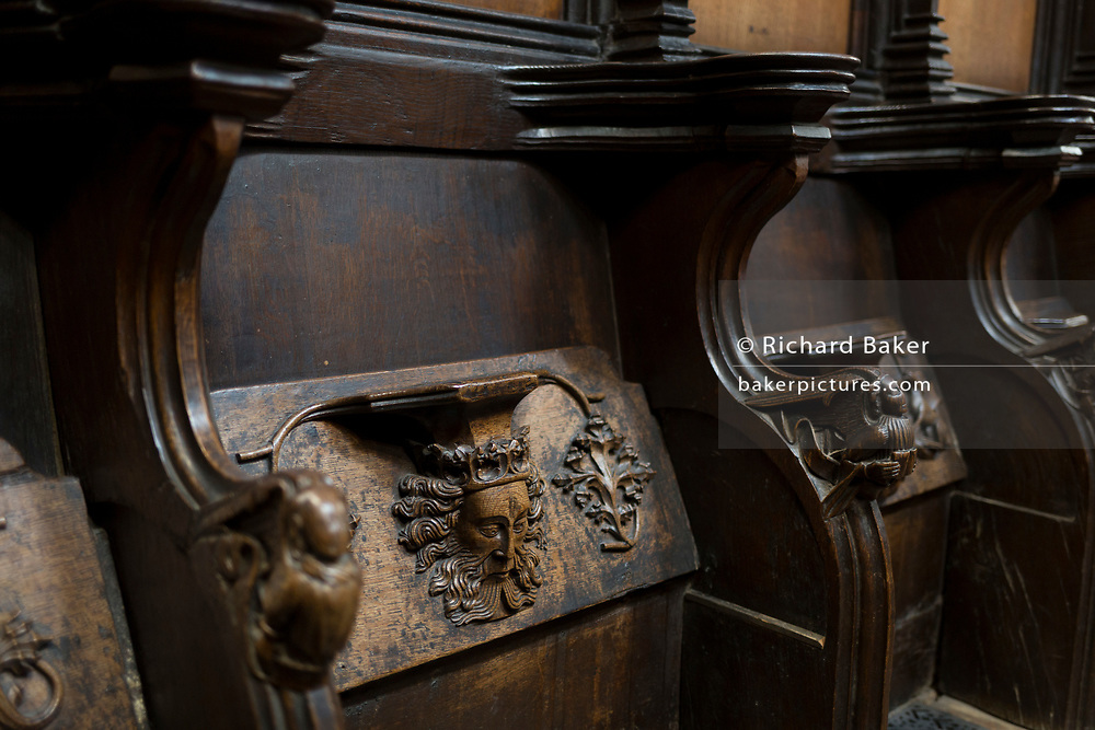 A detail of intricate wooden carvings in the choir of St. Laurence's Church, Ludlow, on 11th September 2018, in Ludlow, Shropshire, England UK.