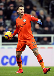 """Manchester City goalkeeper Ederson during the Premier League match at St James' Park, Newcastle. PRESS ASSOCIATION Photo. Picture date: Tuesday January 29, 2019. See PA story SOCCER Newcastle. Photo credit should read: Richard Sellers/PA Wire. RESTRICTIONS: EDITORIAL USE ONLY No use with unauthorised audio, video, data, fixture lists, club/league logos or """"live"""" services. Online in-match use limited to 120 images, no video emulation. No use in betting, games or single club/league/player publications."""