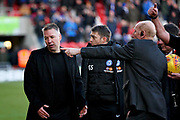 Frustrated Peterborough Manager Darren Ferguson is told to go down the tunnel by stewards at half time during the EFL Sky Bet League 1 match between Doncaster Rovers and Peterborough United at the Keepmoat Stadium, Doncaster, England on 9 February 2019.