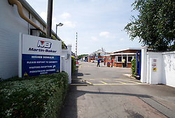 © London News Pictures. File pic date 16/07/2013. The entrance to Martin-Baker, manufacture of ejection seats and crashworthy seating systems in Denham, Buckinghamshire. The ejection seat manufacturer Martin Baker has pleaded guilty at Lincoln Crown Court to Health and Safety offences over the death of Red Arrows Pilot Sean Cunningham in 2011. Photo credit: Ben Cawthra/LNP