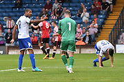 Bury Forward, Jermaine Beckford and Bury Goalkeeper, Joe Murphy after it become 2-1 during the Pre-Season Friendly match between Bury and Sunderland at the JD Stadium, Bury, England on 7 July 2017. Photo by Mark Pollitt.