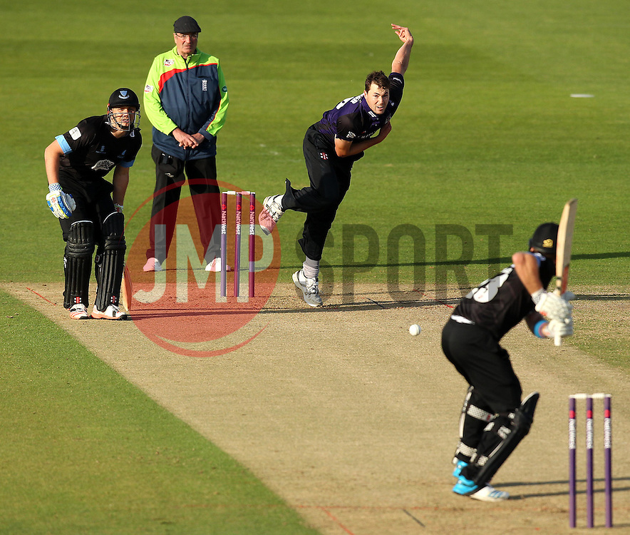 Gloucestershire's James Fuller bowls - Photo mandatory by-line: Robbie Stephenson/JMP - Mobile: 07966 386802 - 26/06/2015 - SPORT - Cricket - Bristol - The County Ground - Gloucestershire v Sussex - Natwest T20 Blast