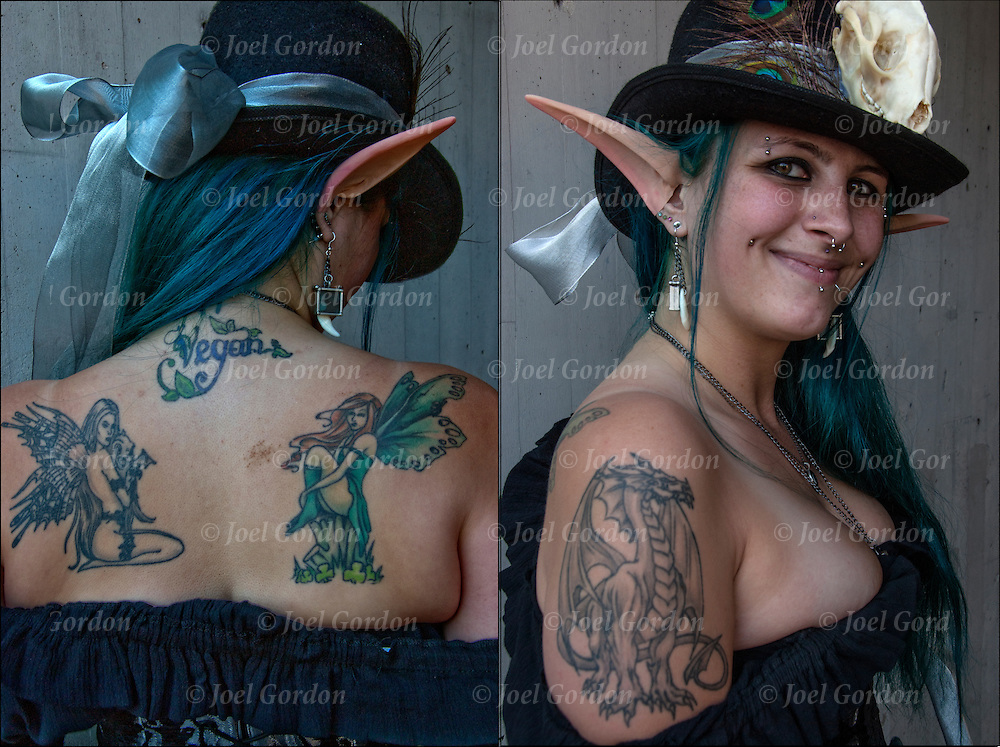 Close up of tattoos on Pixie's   back and dragon tattoo on her arm. <br />