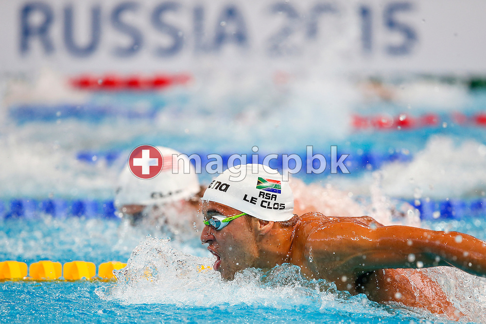 Chad LE CLOS of South Africa competes in the men's 200m Butterfly Heats during the 16th FINA World Swimming Championships held at the Kazan arena in Kazan, Russia, Tuesday, Aug. 4, 2015. (Photo by Patrick B. Kraemer / MAGICPBK)