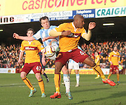 Dundee's Paul McGowan and Motherwell's Anthony Straker challenge for the ball  - Motherwell v Dundee, SPFL Premiership at Fir Park<br /> <br />  - &copy; David Young - www.davidyoungphoto.co.uk - email: davidyoungphoto@gmail.com