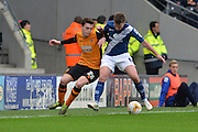 Hull City defender Andrew Robertson and Stephen Gleeson of Birmingham city  during the Sky Bet Championship match between Hull City and Birmingham City at the KC Stadium, Kingston upon Hull, England on 24 October 2015. Photo by Ian Lyall.