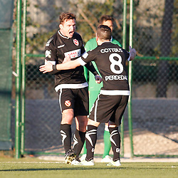 09.01.2015, Hotel Regnun Carya, Belek, TUR, FS Vorbereitung, Fussball Testspiel, SV Werder Bremen vs FC Energie Cottbus, im Bild Torschuetze Fabian Pawela (FC Energie Cottbus #9) und Fanol Perdedaj (FC Energie Cottbus #8) beim Torjubel nach dem Treffer zum 2:1 //  during a international football frindly match between SV Werder Bremen vs FC Energie Cottbus at the Hotel Regnun Carya in Belek, Turkey on 2015/01/09. EXPA Pictures © 2015, PhotoCredit: EXPA/ Eibner-Pressefoto/ Schueler<br /> <br /> *****ATTENTION - OUT of GER*****