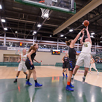 2nd year forward Alexi Rowden (15) of the Regina Cougars in action during the Women's Basketball Preseason game on October 6 at Centre for Kinesiology, Health and Sport. Credit: Arthur Ward/Arthur Images