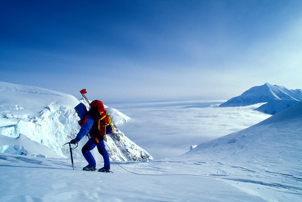 USA, Alaska, Denali National Park, (MR) Rudiger Stuiss climbs near Windy Corner at 14,000' on Mt. McKinley West Buttress
