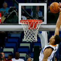 Mar 18, 2013; New Orleans, LA, USA; New Orleans Hornets power forward Anthony Davis (23) attempts a dunk against the Golden State Warriors during the second half of a game at the New Orleans Arena. The Warriors defeated the Hornets 93-72.  Mandatory Credit: Derick E. Hingle-USA TODAY Sports