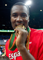 Serge Ibaka of Spain celebrates at medal ceremony after the final basketball game between National basketball teams of Spain and France at FIBA Europe Eurobasket Lithuania 2011, on September 18, 2011, in Arena Zalgirio, Kaunas, Lithuania. Spain defeated France 98-85 and became European Champion 2011. (Photo by Vid Ponikvar / Sportida)