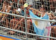 Football - FIFA Beach Soccer World Cup 2006 - Group D - Arg x Nga - Rio de Janeiro - Brazil 02/11/2006<br />an Argentina fan celebrates with a agentina leg during the game  Event Title Boad Mandatory Credit: FIFA / Ricardo Moraes