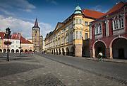 The cobblestone paved center square of Jicin - town in Northerm Bohemia, Czech Republic