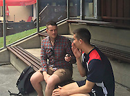 The Tele's Liam Kennedy talks to Dundee&rsquo;s Cammy Kerr - Day 4 of Dundee FC pre-season training camp in Obertraun, Austria<br /> <br />  - &copy; David Young - www.davidyoungphoto.co.uk - email: davidyoungphoto@gmail.com