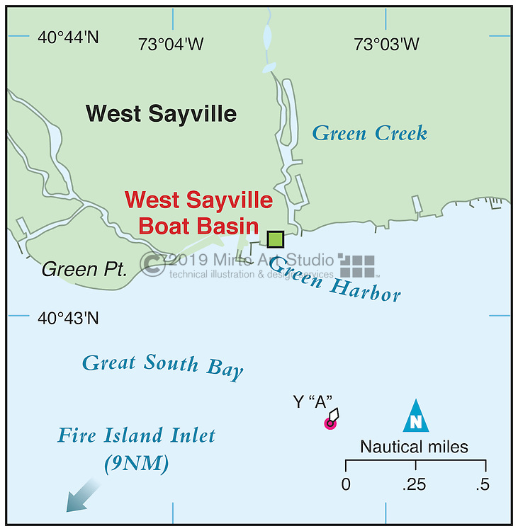 Vector map of Sayville, New York marina