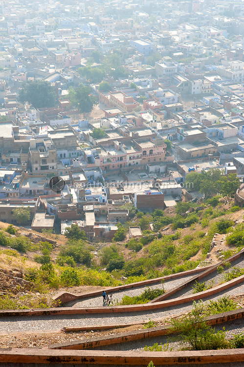 High angle view of the road to Nahargarh Fort and Jaipur, India.