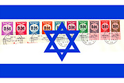 Digitally enhanced image Israeli Stamps (from 1960) on Israeli flag background