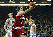 December 31 2012: Indiana Hoosiers guard Jordan Hulls (1) puts up a layup during the second half of the NCAA basketball game between the Indiana Hoosiers and the Iowa Hawkeyes at Carver-Hawkeye Arena in Iowa City, Iowa on Monday December 31, 2012. Indiana defeated Iowa 69-65.