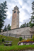 Leaning tower of the Mauritius church, St. Moritz, Upper Engadin, Engadine, Grisons, Switzerland