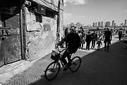 TEL AVIV,  - April 14:  A man rides a bike near the Mediterranean Sea in the old city of Jaffa on April 14, 2017 in TEL AVIV, Israel.  (Photo by Michael Bocchieri/Bocchieri Archive)