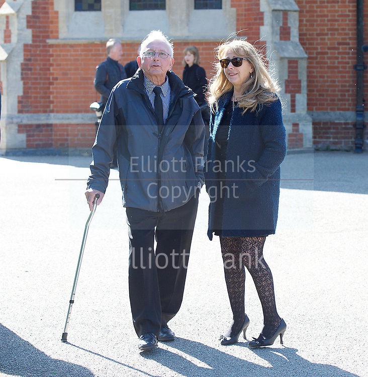 Leslie Rhodes funeral at North East Surrey Crematorium, Morden, Surrey, Great Britain 5th May 2017 <br /> <br /> Guests arriving for funeral <br /> <br /> Leslie Rhodes was one of the victims of the Westminster terror attack on 22nd March 2017. Mr Rhodes was Winston Churchill's former window cleaner.<br /> <br /> Leslie Rhodes, from south London, suffered serious injuries when terrorist Khalid Masood mowed down pedestrians on Westminster Bridge. The 75-year-old was rushed to King&rsquo;s College Hospital but died there when his life support was withdrawn at about 8.25pm the following day. <br /> <br /> He had been attending an appointment at St Thomas&rsquo;s Hospital before Masood went on a rampage &ndash; killing four and injuring 50 before he was shot dead by police.<br /> <br /> Mr Rhodes, who friends revealed was the former window cleaner of Winston Churchill, suffered broken ribs and a punctured lung in the attack.<br /> <br /> <br /> Photograph by Elliott Franks <br /> Image licensed to Elliott Franks Photography Services