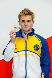 Jack Laugher from City of Leeds Diving Club poses with his Gold Medal after winning the Mens 3m Springboard Final - Mandatory byline: Rogan Thomson/JMP - 11/06/2016 - DIVING - Ponds Forge - Sheffield, England - British Diving Championships 2016 Day 2.
