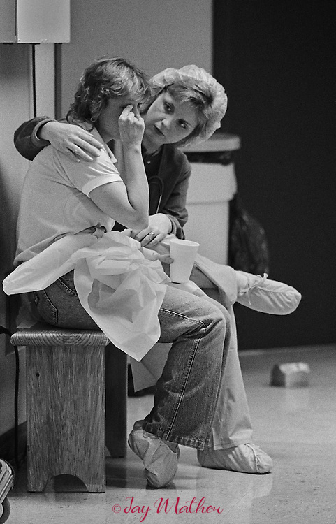 Susie Gutman, RN comforts Peggy Jenks.<br /> <br /> The Intensive Burn Care Unit at Louisville General Hospital.