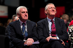 © London News Pictures. FILE PIC 30/09/2015. Brighton, UK. Labour shadow chancellor JOHN MCDONNELL and HILARY BENN at Day four of the 2015 Labour Party Conference in Brighton. Reports have suggested that Hilary Benn might be moved from his position as  shadow foreign secretary in this weeks expected shadow cabinet reshuffle. . Photo credit: Ben Cawthra/LNP