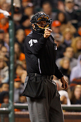 May 24, 2011; San Francisco, CA, USA;  MLB umpire Chad Fairchild (75) calls a strike during the eighth inning between the San Francisco Giants and the Florida Marlins at AT&T Park. Florida defeated San Francisco 5-1.