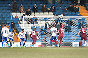 Bury Goalkeeper, Ian Lawlor is called into action during the Sky Bet League 1 match between Bury and Bradford City at the JD Stadium, Bury, England on 5 March 2016. Photo by Mark Pollitt.