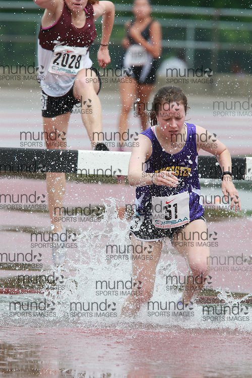 (London, Ontario}---03 June 2010) Colleen Wilson of Ancaster High competing in the steeplchase at the 2010 OFSAA Ontario High School Track and Field Championships. Photograph copyright Dave Chidley / Mundo Sport Images, 2010.